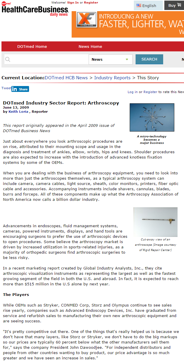 DotMed Article Arthroscopy Sector Report Advanced Endoscopy Devices